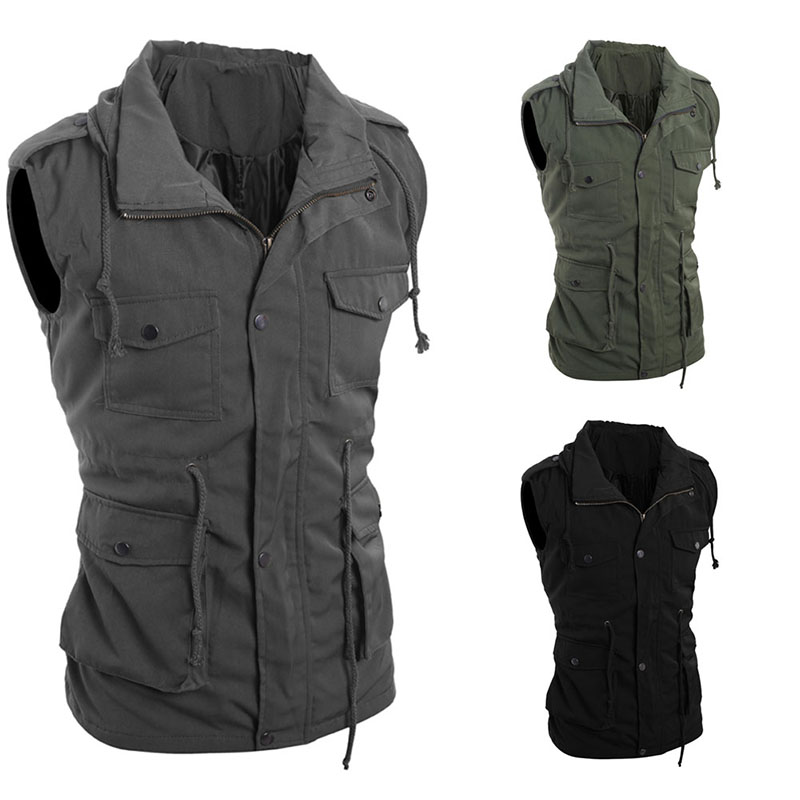 Men Outdoor Hiking Camping Military Tooling Vests Multi-Pockets Zipper Vest Outdoors Leisure Loose Army Waistcoats SS zipper fly loose fitting camouflage print multi pockets straight leg cargo shorts for men