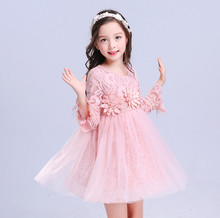 2018 Toddler Baby Long Sleeve Dress Baby Girl Clothing Flower Infant Girl Dresses Autumn Lace Princess Party Prom Tulle Dresses стоимость