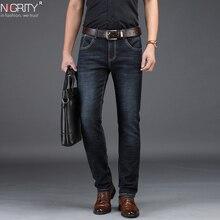 NIGRITY 2019 חדש Mens ג ינס חכם מזדמן ג ינס רגיל Fit ישר רגל גמישות ג ינס 8932 למתוח ארוך מכנסיים גודל גדול 42