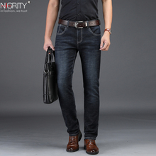 NIGRITY 2019 New Mens Jeans Smart Casual Jeans Regular Fit Straight Leg Elasticity Jeans 8932 Stretch Long Trousers Big Size 42