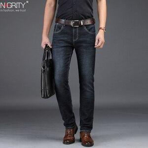 Image 1 - NIGRITY 2019 Nuovi Jeans Da Uomo Intelligente Casual Jeans Regular Fit Straight Leg Elasticità Dei Jeans 8932 Lungo Tratto Pantaloni Big Size 42