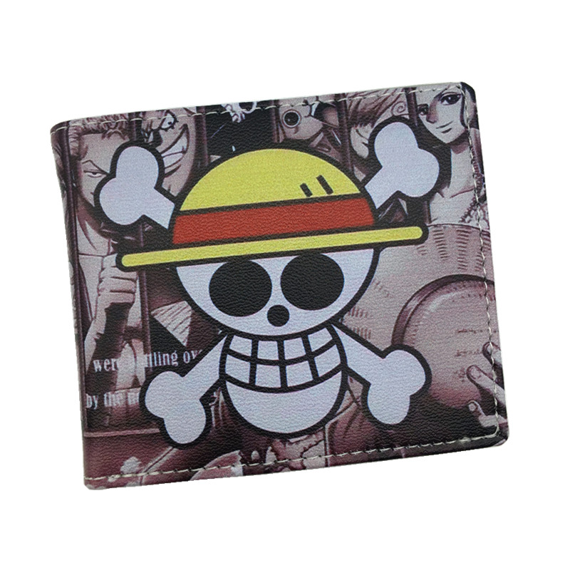 Free Shipping ONE PIECE Wallet Luffy Pirate Skull Head Comics Wallets Cartoon Purse With Zipper Coin Pocket 8 Card Holder cartoon japan anime one piece luffy wallet with money coin pocket zipper leather pu purse