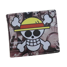 Free Shipping ONE PIECE Wallet Luffy Pirate Skull Head Comics Wallets Cartoon Purse With Zipper Coin Pocket 8 Card Holder