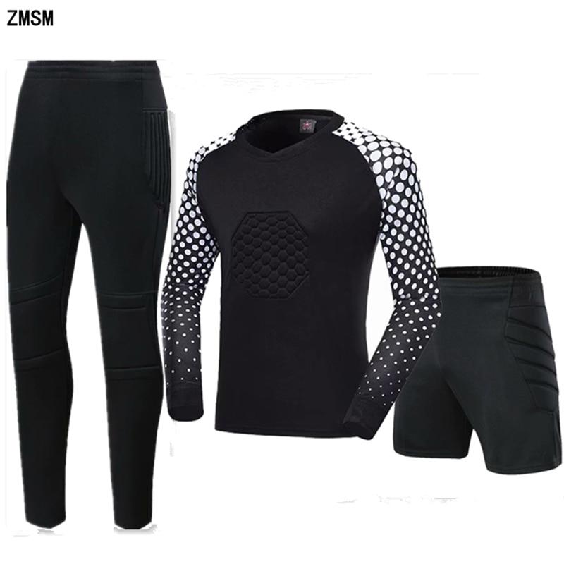 ZMSM Youth Goalkeeper Soccer Jerseys Kit Adult Goalkeeper Football Uniform Sponge Protection Goalie Shirts Pants & Shorts MB-A