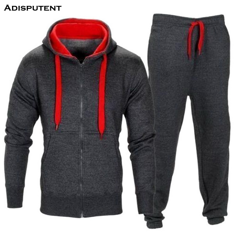 Adisputent Patchwork Autumn Winter Men Suits Men's Sportswear Tracksuit With Zipper Hoodie Two Pieces Set Drawstring Chandal