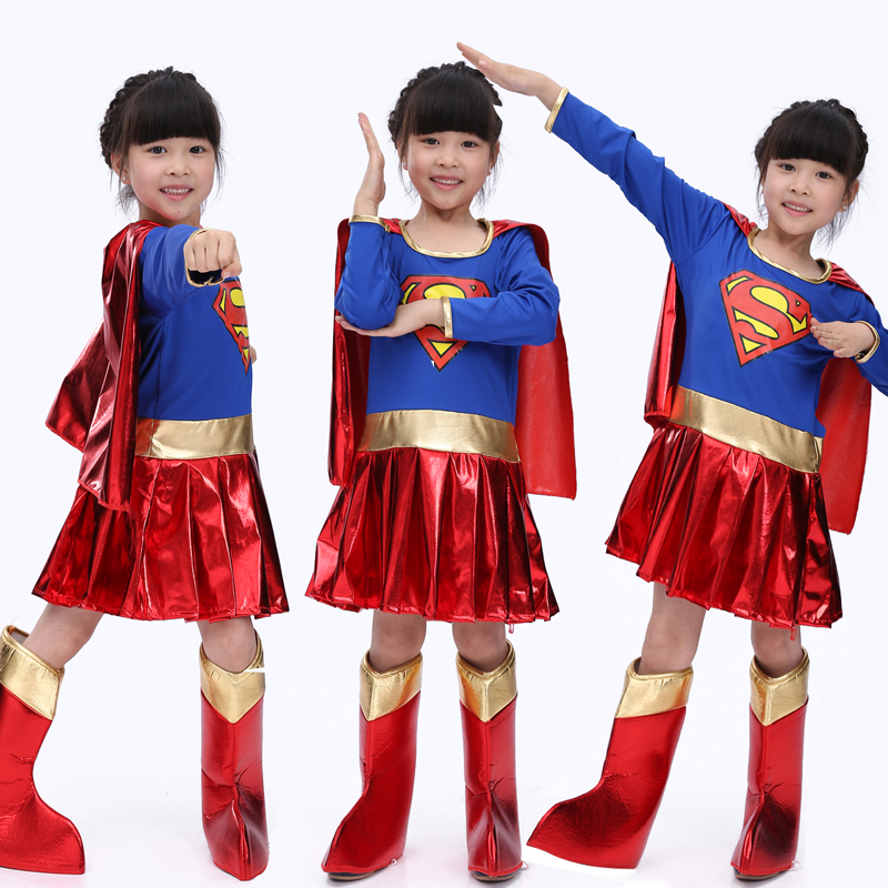 Free Shipping Halloween children's Superman costume Superman cape Cosplay girls clothes Superman  costume