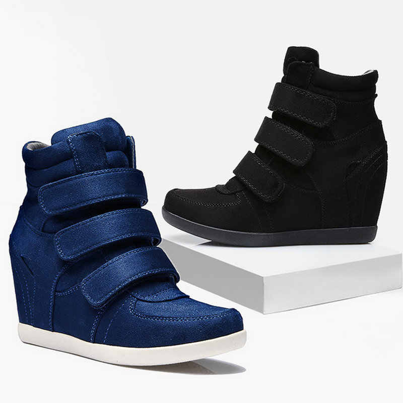 dce84c38f5b6 ALL black Woman Sneakers Casual Wedge flat Platform Shoes Ankle Martin Boots  Women high top Height