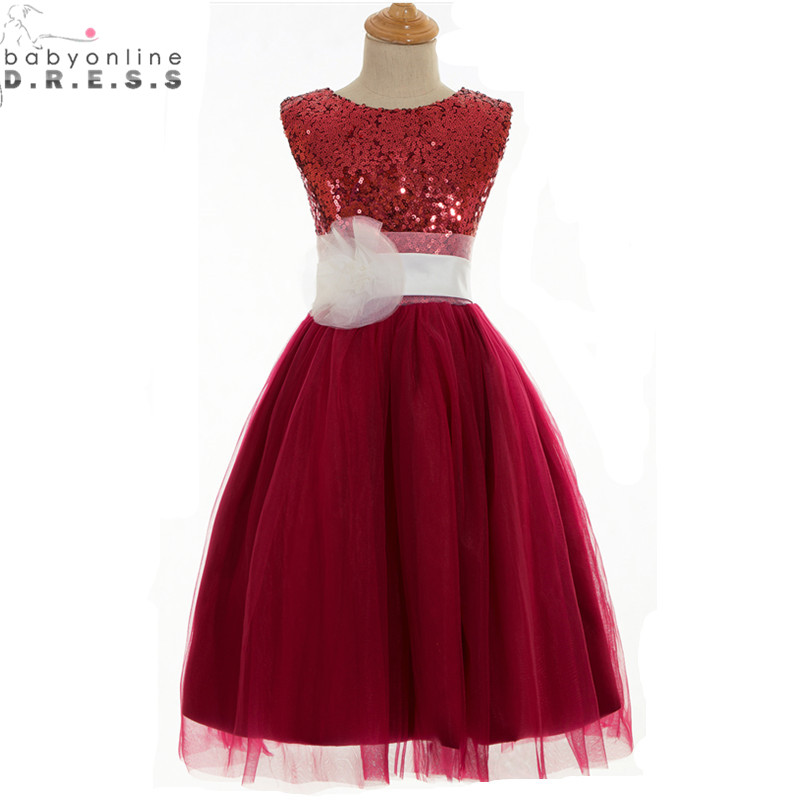 Vestidos de Primera Comunion Cheap Burgundy Sequined   Flower     Girl     Dresses   for Weddings First Communion   Dresses   for   Girls