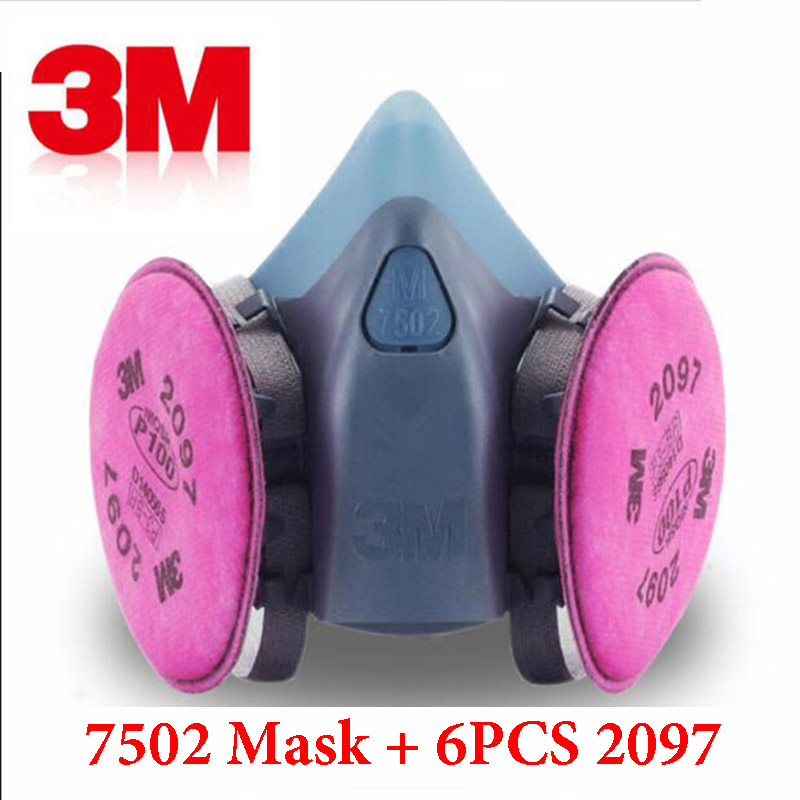 7 In 1 Suit 3M 7502 Spray Paint Gas mask Industry Protection Respirator With 3M 2097 P100 Mask Fliters Anti Dust Gas Mask