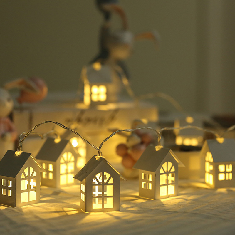 Wooden House LED Outdoor String Lights Garland Party Outdoor Garden Patio Decorative Light String