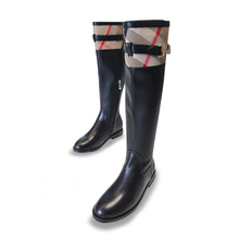 top quality brand england plaid leather boots,fashion boot women's luxure design boots genuine leather boots gingham heel shoes
