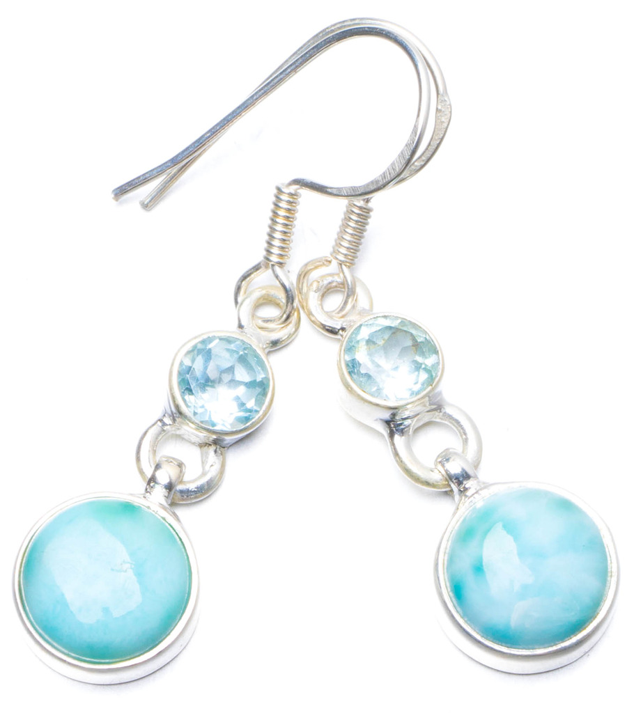 Natural Caribbean Larimar and Blue Topaz Handmade Unique 925 Sterling Silver Earrings 1.5 Y0562