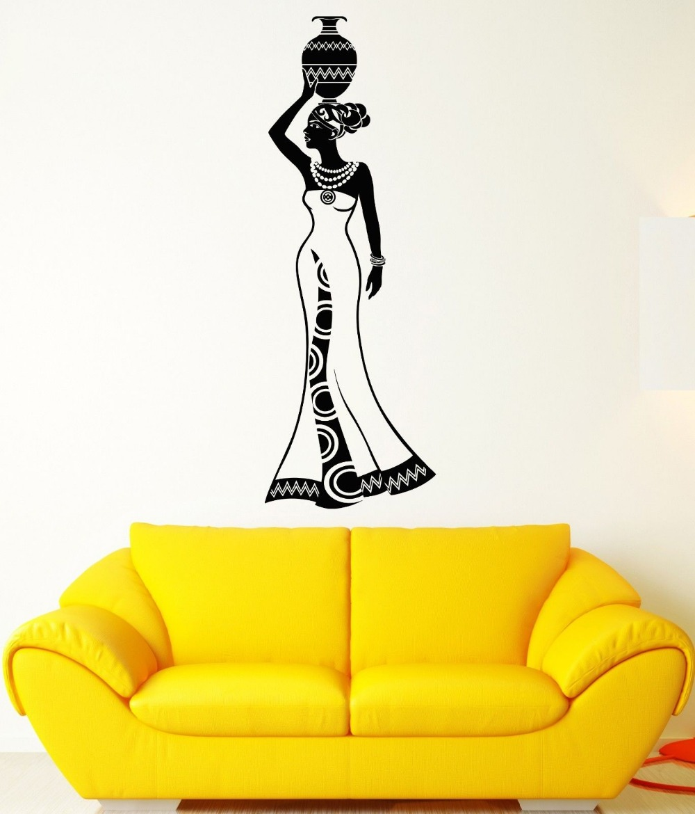 Afro Hairstyle Vinyl Wall Stickers Black African Woman Hair Stylist ...