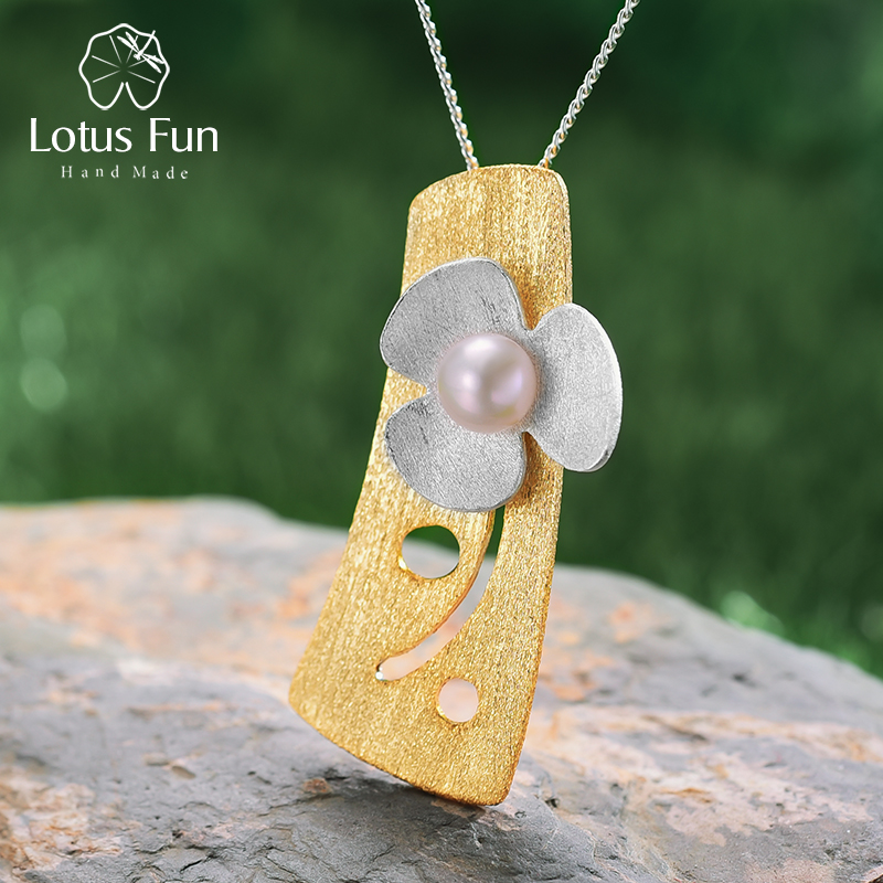 Lotus Fun Real 925 Sterling Silver Natural Pearl 18K Gold Fine Jewelry Fresh Clover Flower Pendant without Necklace for Womenfine jewelrypendant handmadependant 925 -