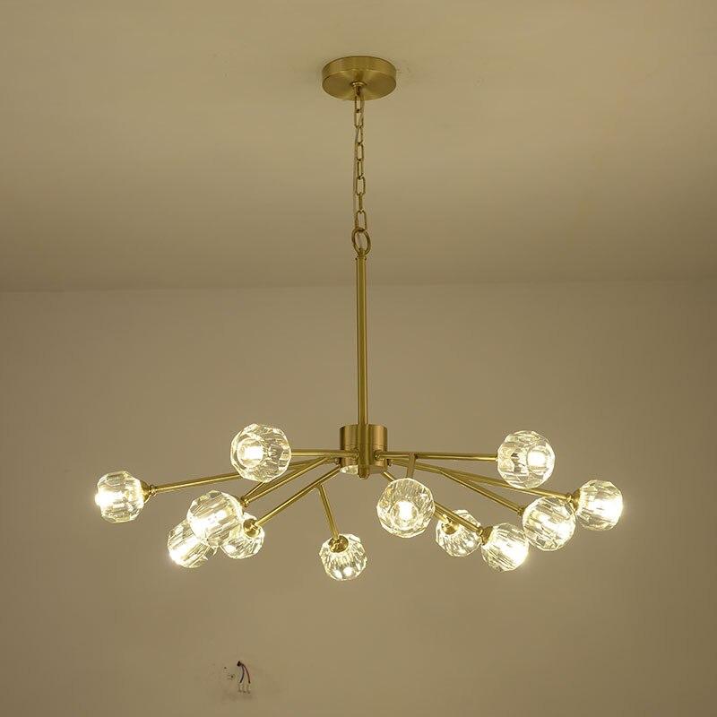 Медь современный хрустальная люстра латунь блеск роскошная люстра освещения для Гостиная Спальня Обеденная украшения дома