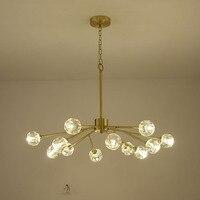 Copper Modern Crystal Led Chandelier Brass Lustre Luxury Chandelier Lighting for Living Room Bedroom Dining Room Home Decoration