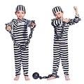 Хэллоуин Косплей Костюм одежда мальчик ребенок полосатый заключенный узник костюм маскарадный костюм