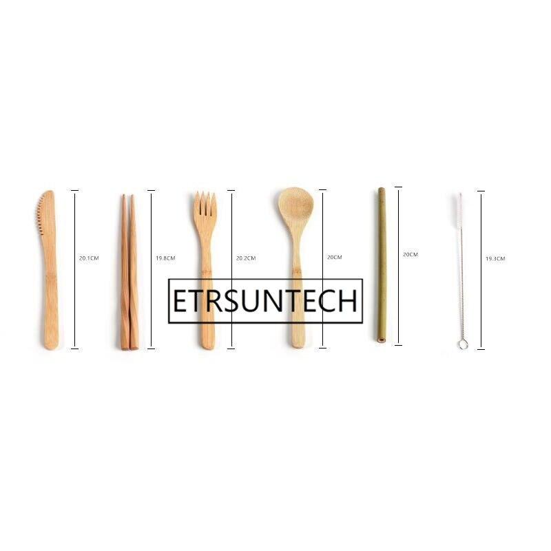 50 sets Tragbare Messer Picknick Natürliche Wiederverwendbare Stroh Löffel Gabel Essstäbchen Küche Utensil Bambus Besteck Set-in Geschirr-Sets aus Heim und Garten bei  Gruppe 2