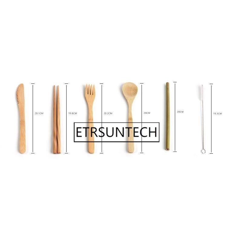 50 zestawów przenośny nóż piknik naturalne wielokrotnego użytku słomy łyżka widelec pałeczki naczynia kuchenne bambusa zestaw sztućców w Zestawy naczyń obiadowych od Dom i ogród na  Grupa 2
