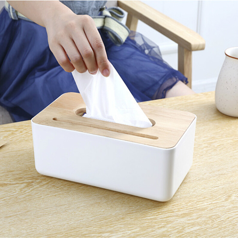 Oak Wooden Tissue Box Napkin Paper Dispenser Storage Cover Box Tissue Case Container Cell Phone Holder Desk Organizer Home Decor