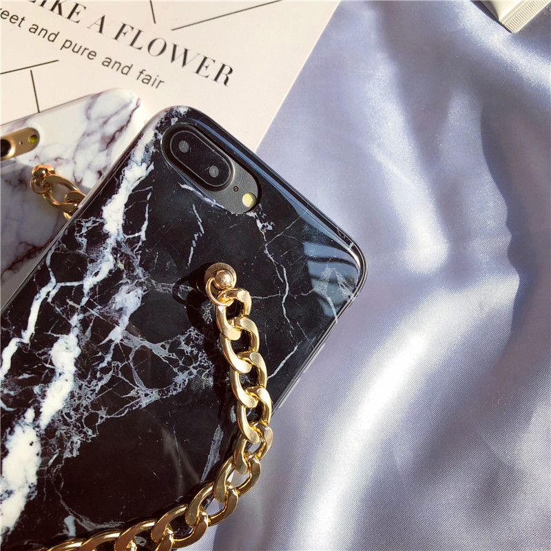 LUDI New Marble Case for iPhone X 8 7 7plus Pearl Gold Chain Wrest Strap Fundas for iPhone6plus 6 6s 8 plus Slim Cover for girl 3