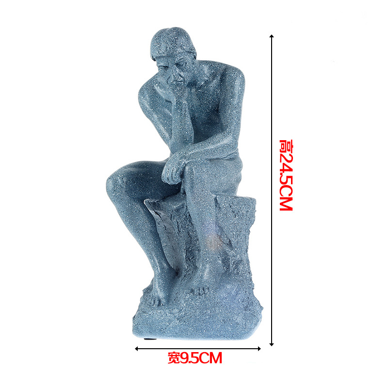 Full resin Thinker sculpture effigy meditator Works art human body model Medical teaching Human body цена