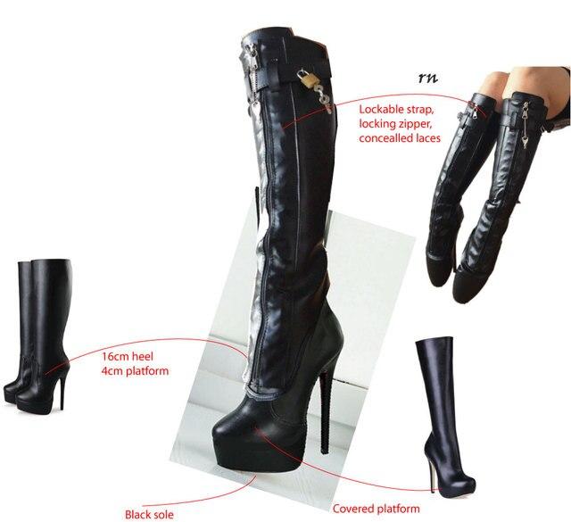 cf3cbcbab07b5c Sorbern personnalisé genou bottes hautes femmes bottes à lacets Goth  chaussures femmes plate-forme chaussures Pole Dance bottes à talons hauts  fermeture à ...