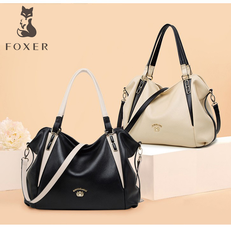 FOXER Women Handbags Leather Shoulder Bag Brand Fashion Crossbody Bags for Female Casual High Quality Totes Messenger Bags Gift fashion women genuine leather handbags totes bags crossbody women s shoulder bag casual ladies travel messenger bag high quality