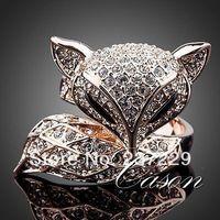 ホット販売>@@卸売価格s ^^^^ローズgpファッション素敵な黄金キツネリングを使用クリアオーストリアクリスタルの花嫁ジュエリー送料