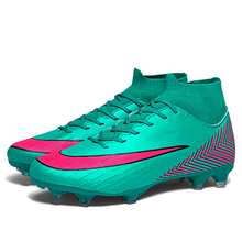 New Football Boots Boy Kids Teenager Turf Soccer Shoes TF High Ankle Futsal Indoor Sock Soccer Cleats Sneakers  08 цена