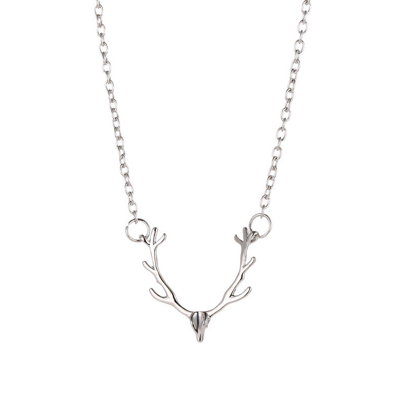 Christmas-elk-Antler-Necklace-Women-Charm-Simple-Cute-Necklaces-Jewelry-Womens-Accessorie-Short-Silver-Gold-Chain (2)