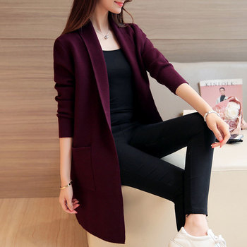 Long Cardigan Women 2019 Spring Autumn Women Long Sleeve Pockets Knitted Cardigan Female Tricot Lady Outerwear Pull Femme F373 black side pockets long sleeves outerwear