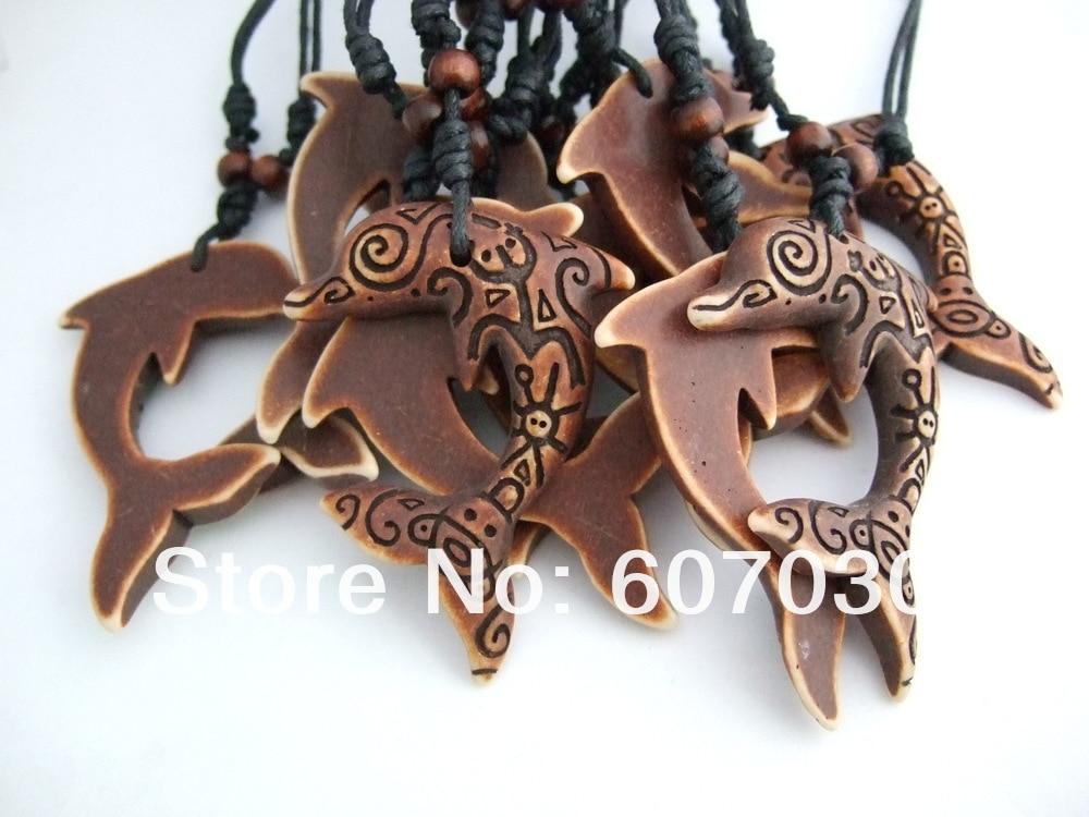 12 шт. Coqui таино символ коричневый дельфин Ожерелья для мужчин Подвески
