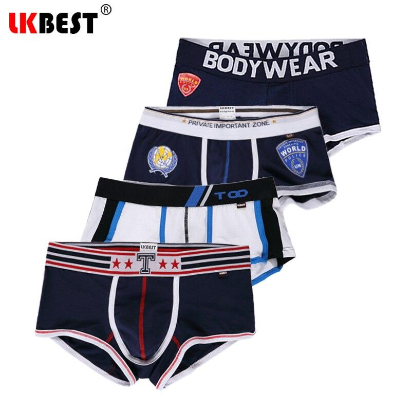 LKBEST 4 adet/grup erkekler iç çamaşırı yeni marka erkek boksörler U Kılıfı moda erkek boxer şort pamuk pantolon erkekler külot (N-519)