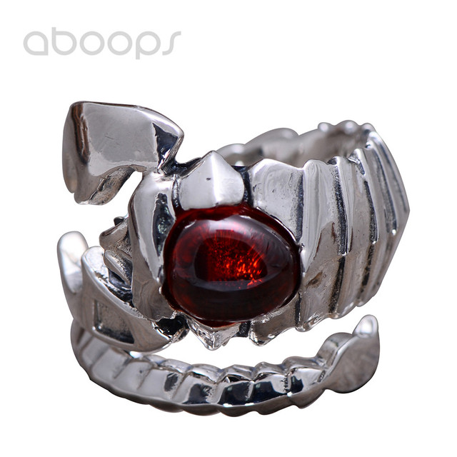 Vintage 925 Sterling Silver Constellation Scorpio Ring Jewelry with Red Garnet Stone for Men Adjustable Free Shipping