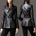 Черные женщины натуральной кожи куртка пальто овчины подлинной мотоцикл одежда женская корея Тонкий Двубортный Дизайн Куртки