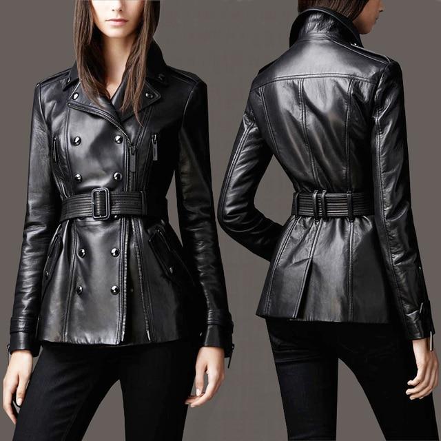 Negro mujeres de la capa de la chaqueta de cuero real de piel de oveja genuina ropa de la motocicleta femenina de corea Delgado Diseño de Doble Botonadura Chaqueta