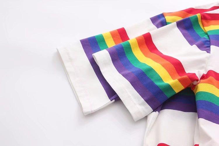 Shugo Wynne 2018 Summer New Women Fashion Preppy Style Rainbow Stripes Tees O-neck Short Sleeve Casual Loose T shirt Tops
