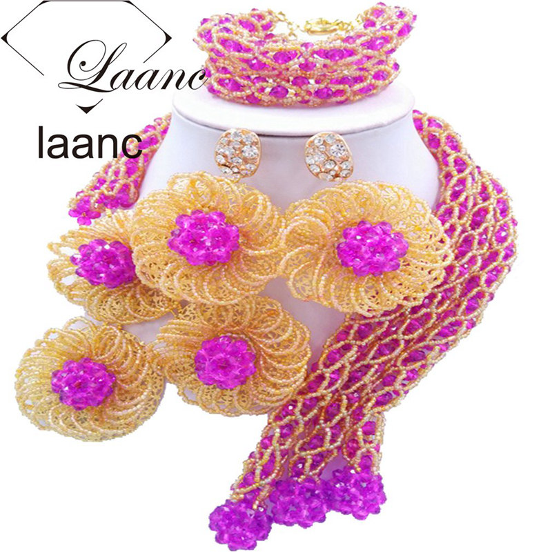 Laanc Fashion Bridal Purple Jewelry Sets for Women Nigerian Wedding Necklace and Earrings Bracelet FBFE014 a suit of gorgeous rhinestoned flower necklace bracelet earrings and ring for women