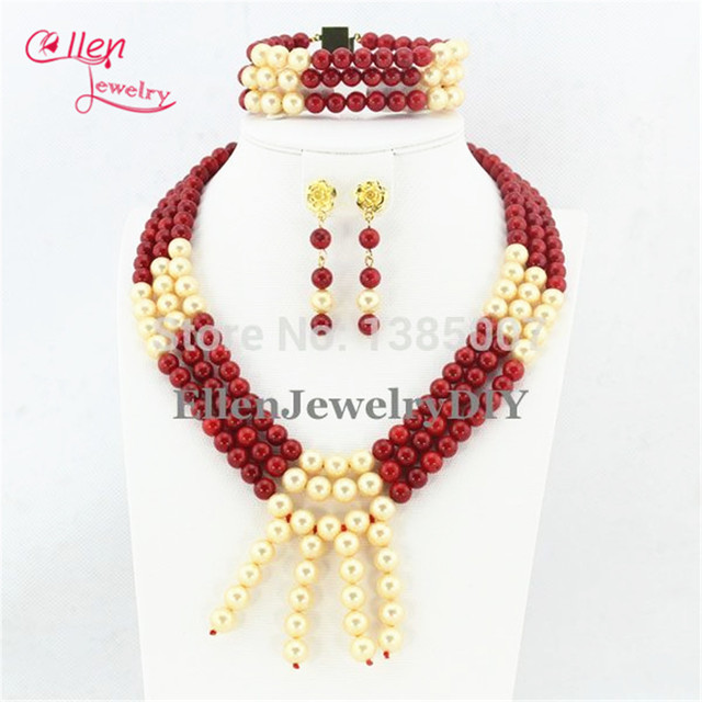 Beautiful Red Coral Jewelry Set Nigerian wedding beads Necklace set Gift Bridesmaid Shell Pearl african beads Jewelry Set