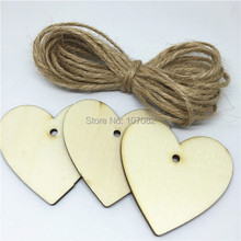 Фотография 60pcs 48x50mm Wooden Heart Tags Pendants Embellishments With 10yards Jute String Rope Rustic Wedding Wishing Christmas Tree Deco