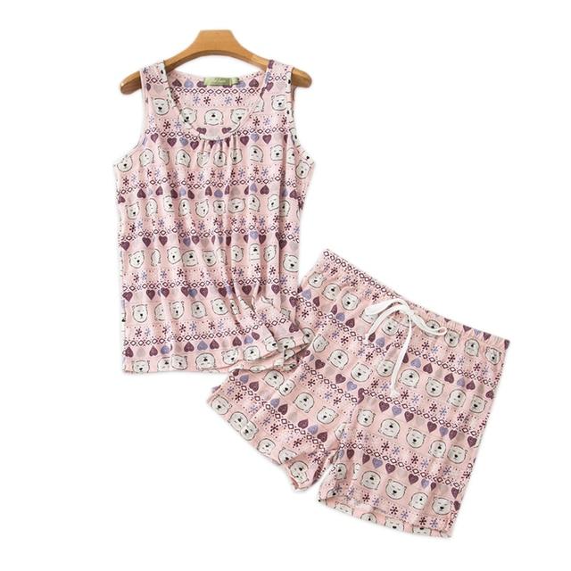 プラスサイズのかわいいクマのパジャマセット韓国綿60% ノースリーブ甘い漫画夏のショートパジャマ女性パジャマ