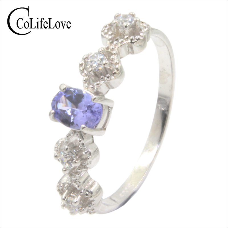 Fashion silver tanzanite ring with small flowers 0.5 ct natural VS grade tanzanite ring 925 silver tanzanite jewelry for weddingFashion silver tanzanite ring with small flowers 0.5 ct natural VS grade tanzanite ring 925 silver tanzanite jewelry for wedding