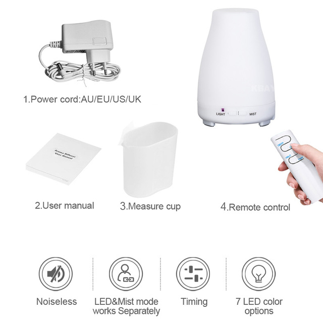 KBAYBO Ultrasonic Humidifier Aromatherapy Oil Diffuser Cool Mist Color LED Lights Esential Oil Diffuser Remote Control 5