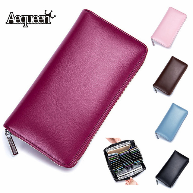 295ed0c6d0ef AEQUEEN Women Luxury Genuine Leather Wallet Rfid ID Card Holders 36 Cards  Slot Credit Card Cases