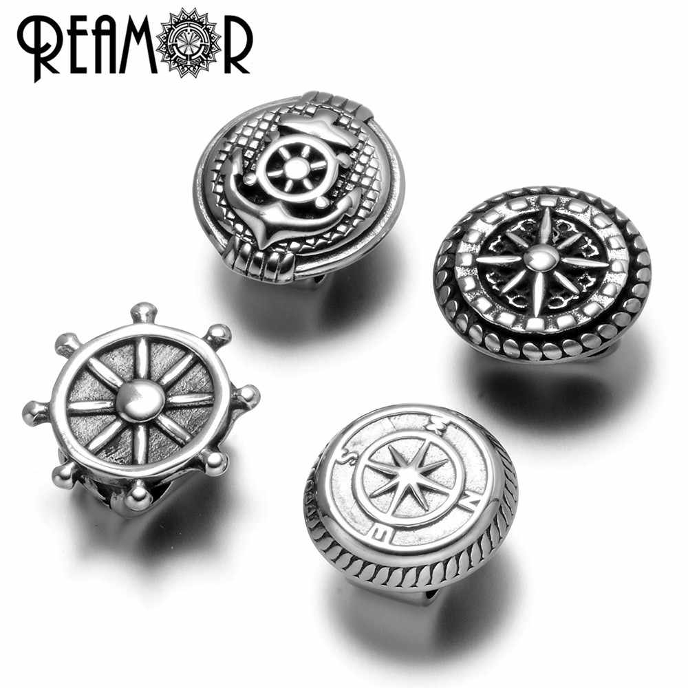 REAMOR Stainless Steel Anchor Rudder Compass 5mm Two Hole European Charms Beads For DIY Double Leather Bracelet Jewelry Making