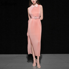 Seifrmann New 2019 Women Spring Summer Dress Runway Fashion Designer Draped Off shoulder Side slit Elegant Casual Long Dresses