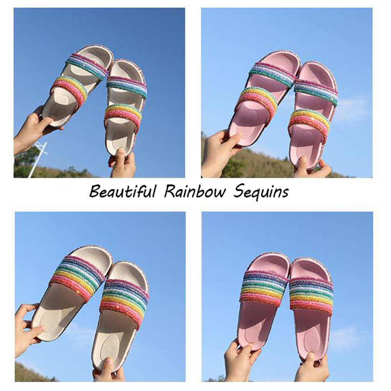 COOLSA Brand Womens Beautiful Rainbow Sequins Flat Bling Slippers Designer Fashion Slides Beach Home Slippers Sparkling SandalsCOOLSA Brand Womens Beautiful Rainbow Sequins Flat Bling Slippers Designer Fashion Slides Beach Home Slippers Sparkling Sandals