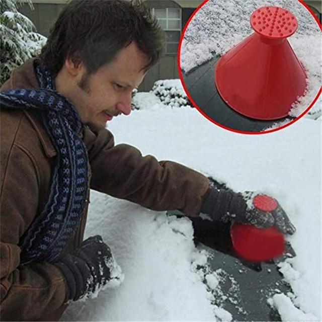 Magic Window Windshield Car Window Ice Scraper Cone Shaped Funnel Snow Remover Tool Scrape A Round Window Cleaner Glass Wiper 2