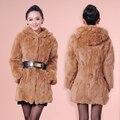 2015 new winter women's Rex Rabbit Fur outwear with a hood  medium-long  long sleeve fur coat
